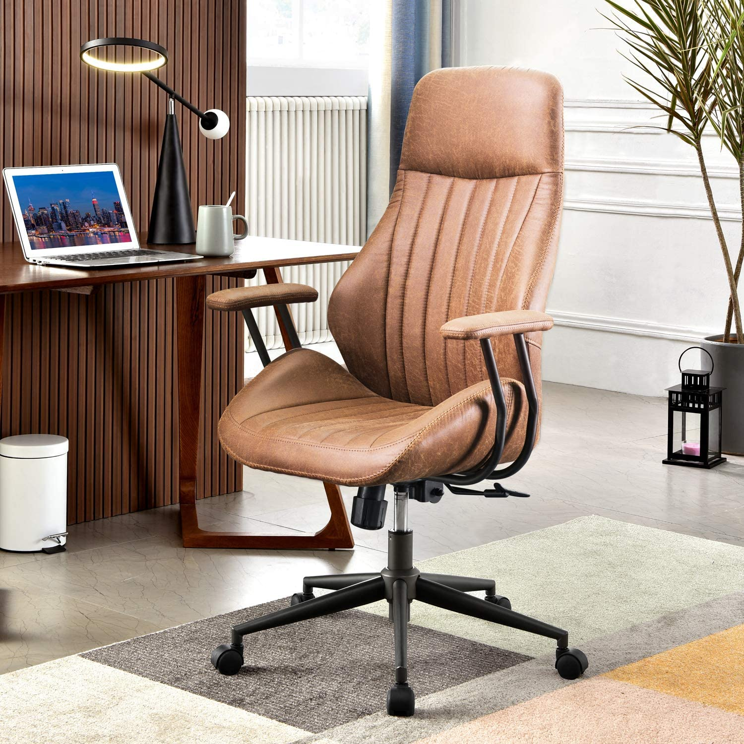XIZZI Ergonomic Chair, Modern Computer Desk Chair,high Back Leathe Office Chair with Lumbar Support for Executive or Home Office (Brown)