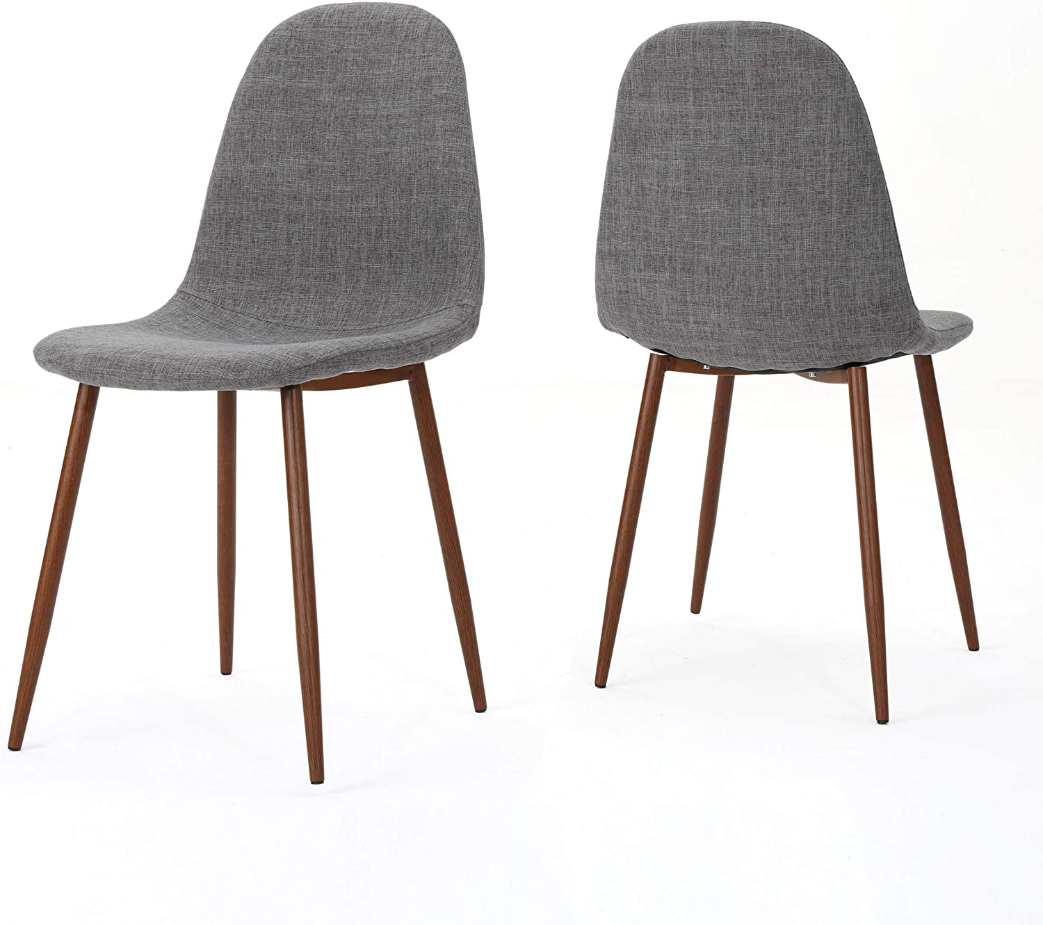 Amazon Com Christopher Knight Home 301730 Raina Mid Century Modern Fabric Dining Chairs With Wood Finished Metal Legs 2 Pcs Set Light Grey Dark Brown Chairs