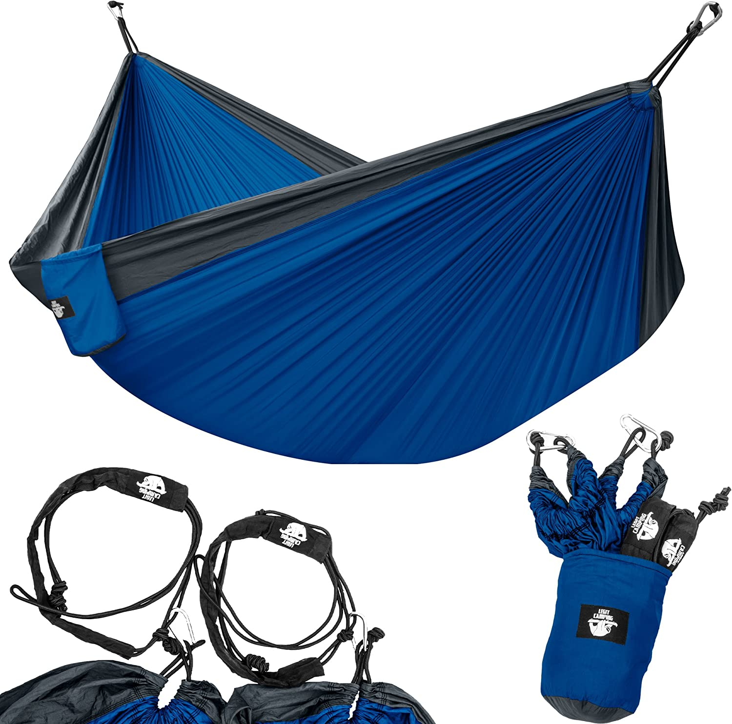 Legit Camping Portable Double Hammock - Charcoal/Royal - 400 lb Weight Capacity