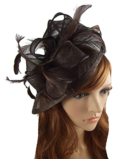 Martha Rose Boutique Coffee Brown Sinamay   Feather Teardrop Hat Fascinator  - Occasion Wedding Races  Amazon.co.uk  Clothing d53e54689fc