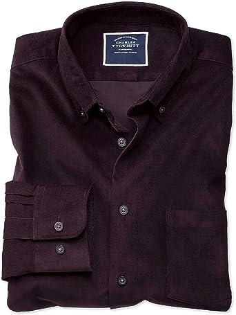 Camisa Morado Oscuro de Pana Fina Extra Slim fit Lisa: Amazon ...