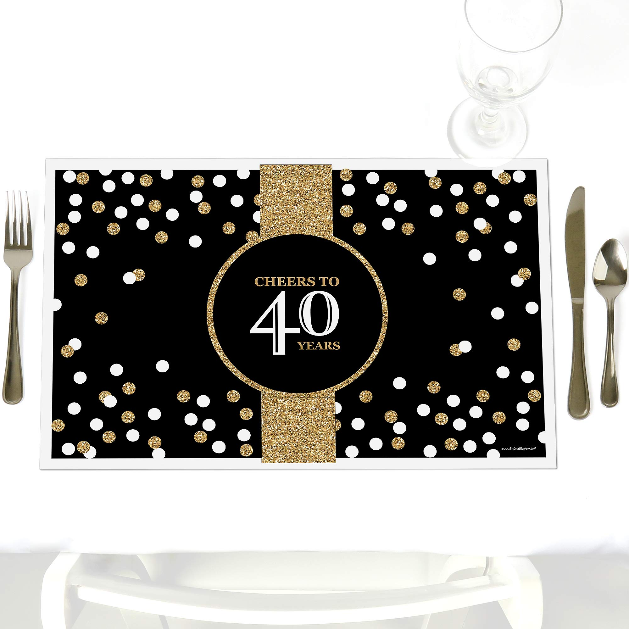 Adult 40th Birthday - Gold - Party Table Decorations - Birthday Party Placemats - Set of 12 by Big Dot of Happiness