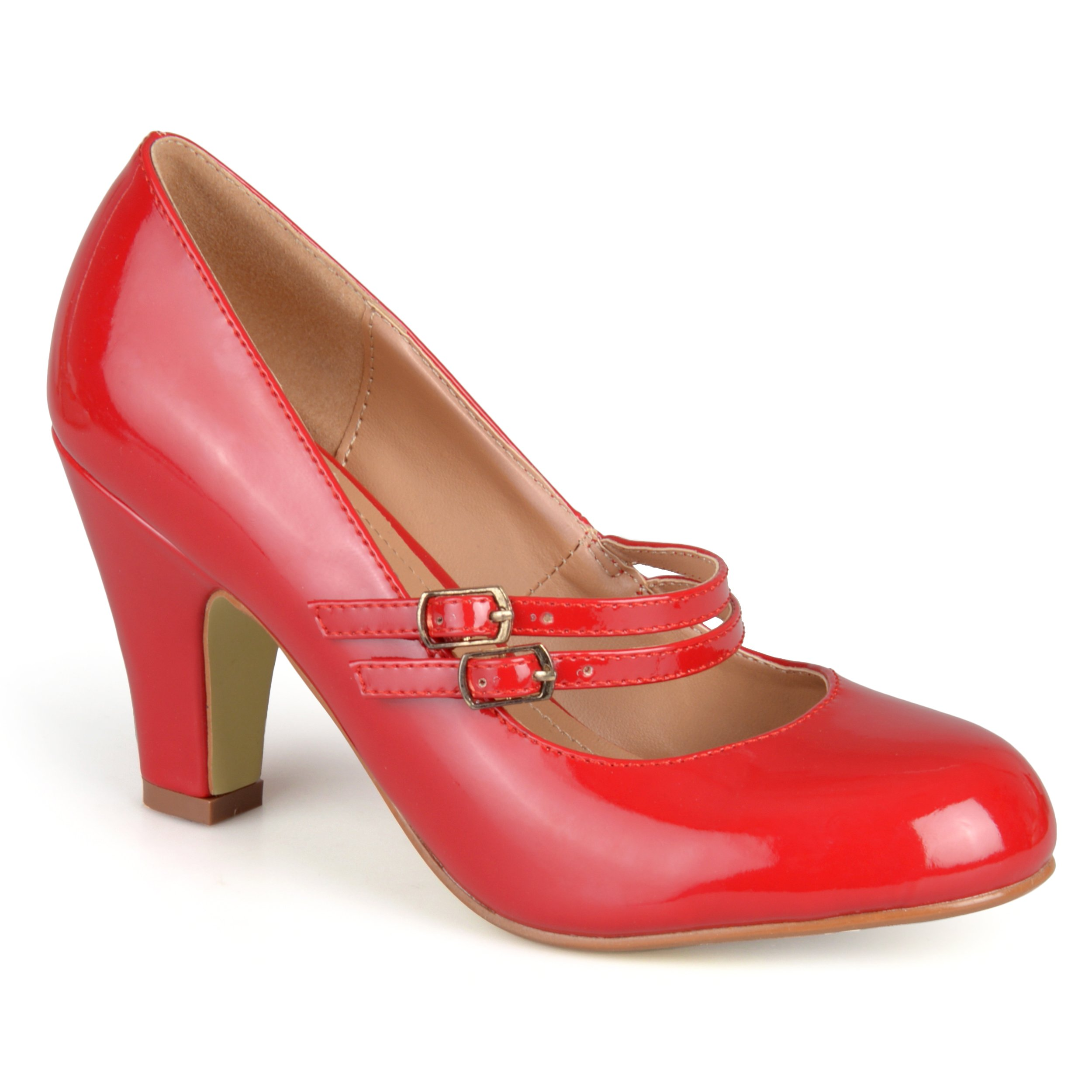 Journee Collection Womens Mary Jane Patent Faux Leather Pumps Red, 9 Regular US