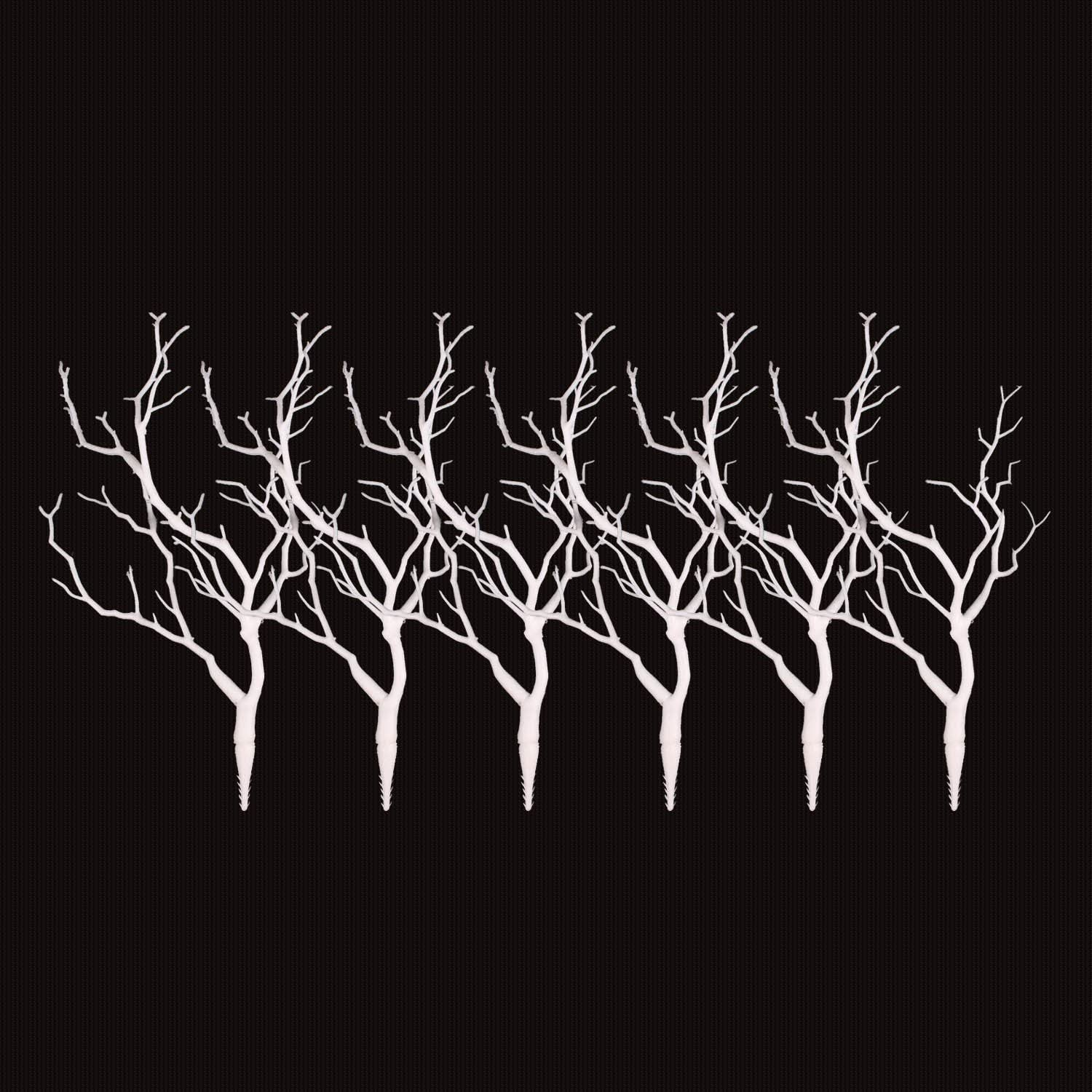 Sigdio Artificial Plastic Stems Bohemian Twigs Dried Tree Branches for Wedding Party Home Hotel Decoration (White, 6)
