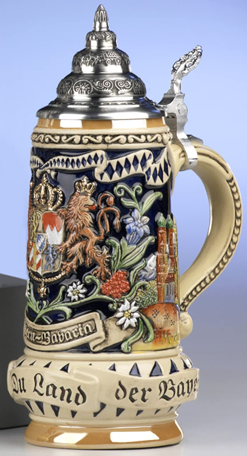 Traditional German Beer SteinTraditional German Beer Stein - Bavaria Stein, State Coat of Arms in centre panel, flanked by views of München and Neuschwanstein caslte, State Motto translated: God with you, Land of the Bavarians 0.5L MyGermanStore