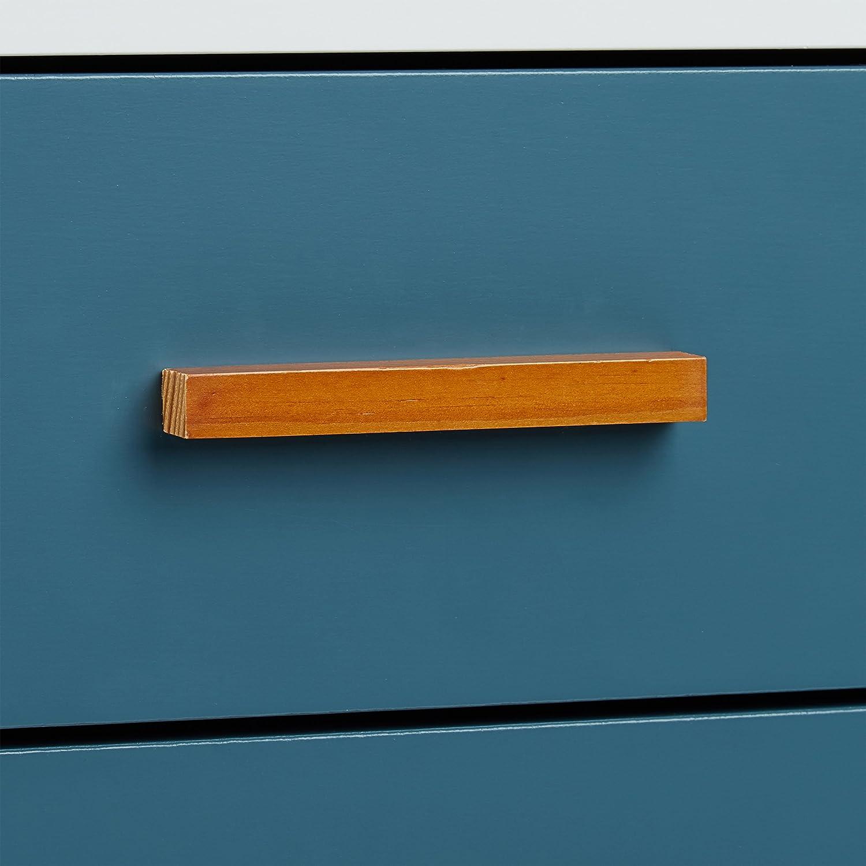 Mobile cassettiera comodino porta riviste in legno e bamb/ù 4 cassetti bianco