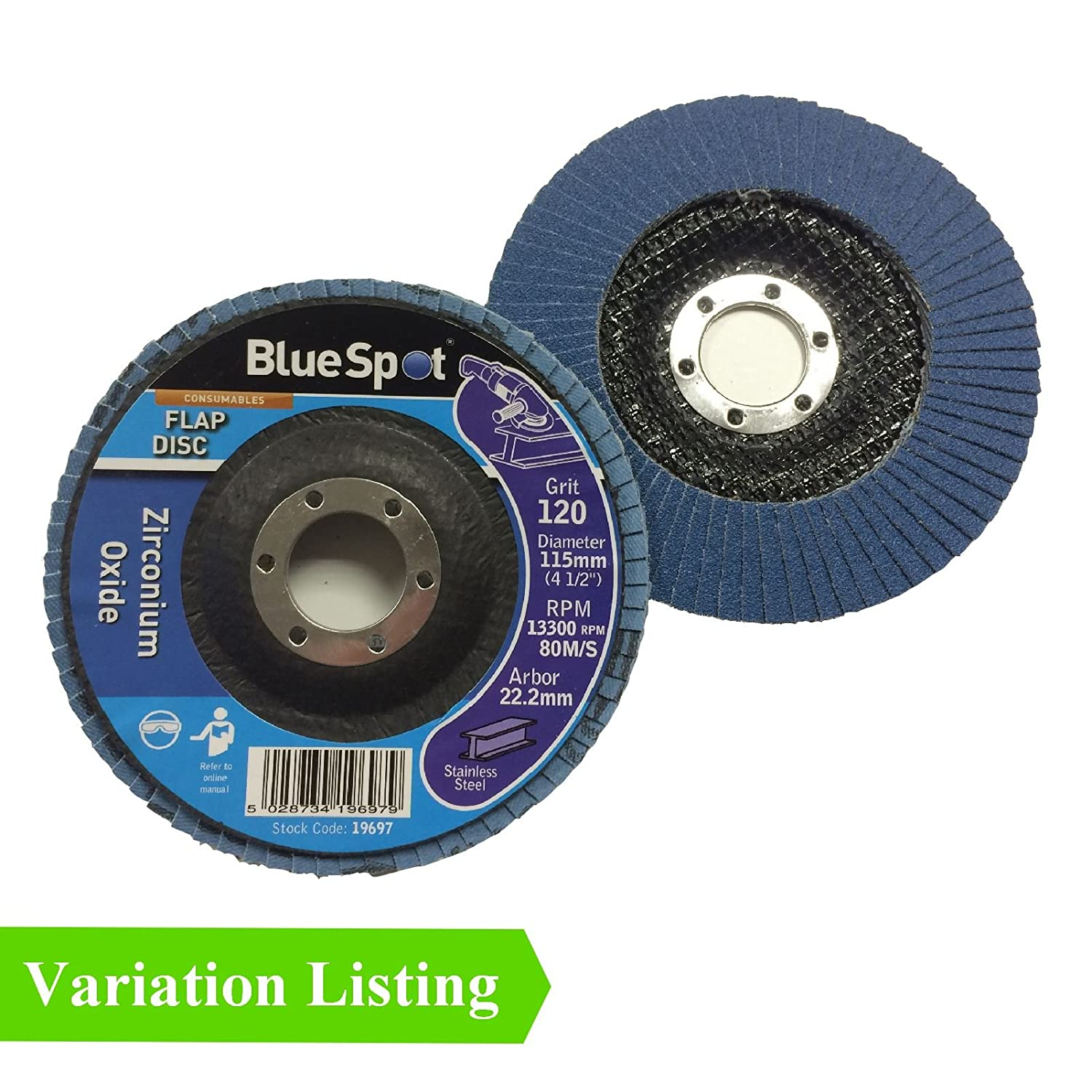 10 x 115mm Flap Disc 120 Grit Angle Grinder Sanding High Quality Zirconium Oxide Home.smart