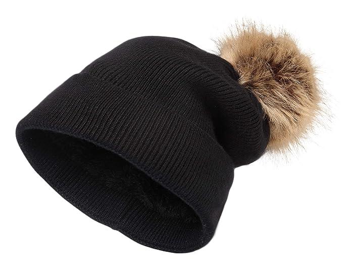 a6111af5 NEOSAN Pom Pom Women Knit Cuffed Chunky Skull Hats Beanie Lining Cap Black