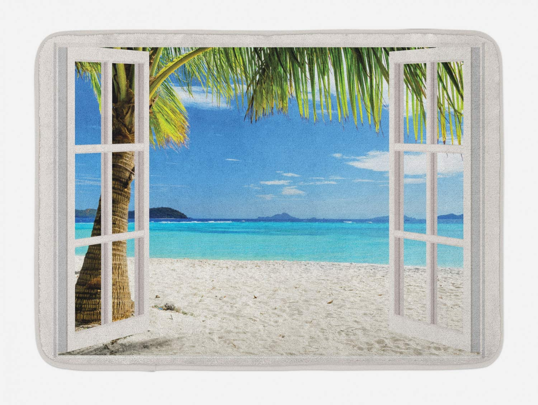 Ambesonne Turquoise Bath Mat, Tropical Palm Trees on Island Ocean Beach Through White Wooden Windows, Plush Bathroom Decor Mat with Non Slip Backing, 29.5