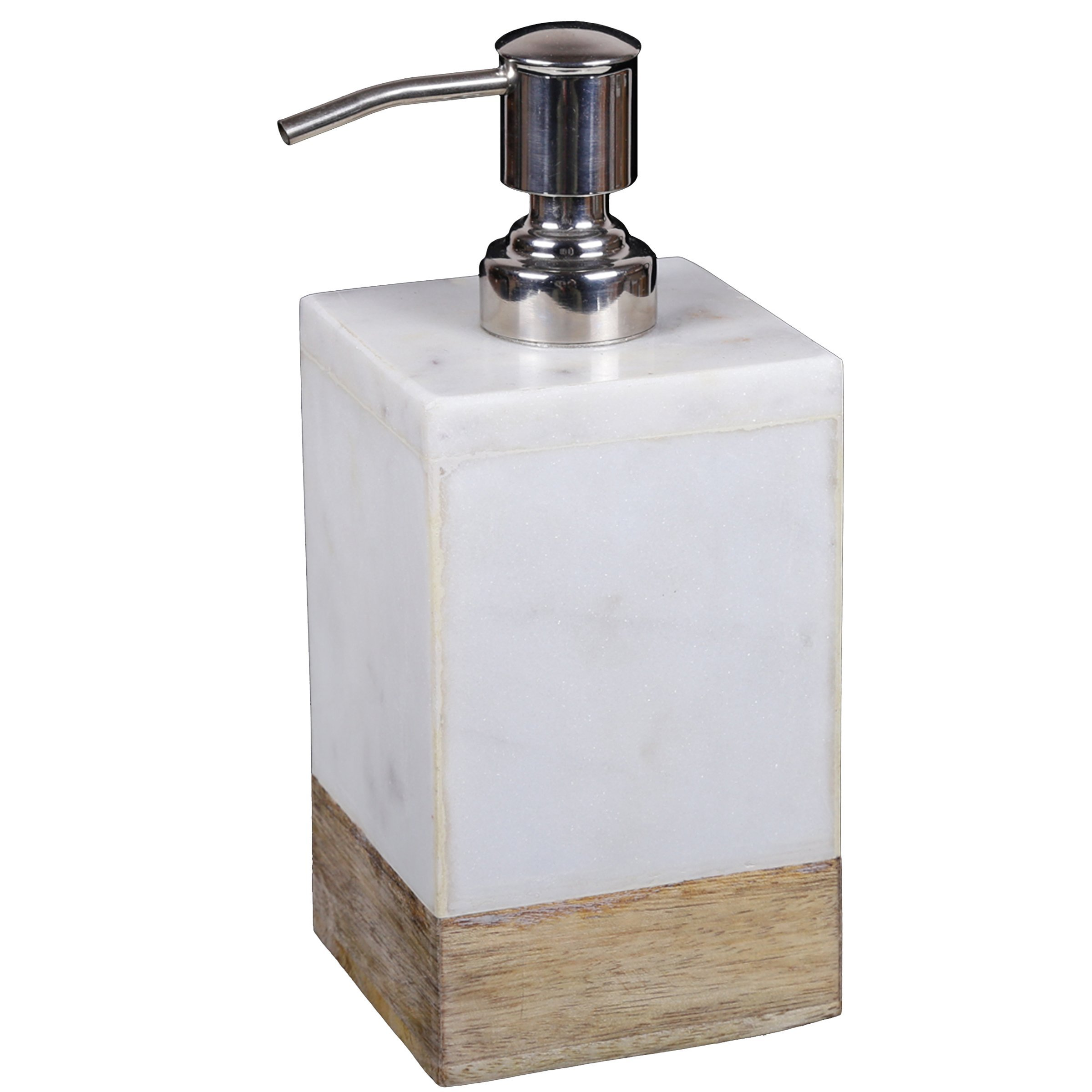 Creative Home 74821 Natural White Marble & Mango Wood Liquid Soap Dispenser with Stainless Steel Pump