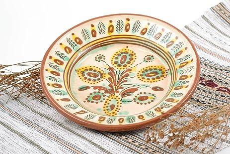 Amazon.com: Handmade decorative wall hanging ceramic plate painted ...