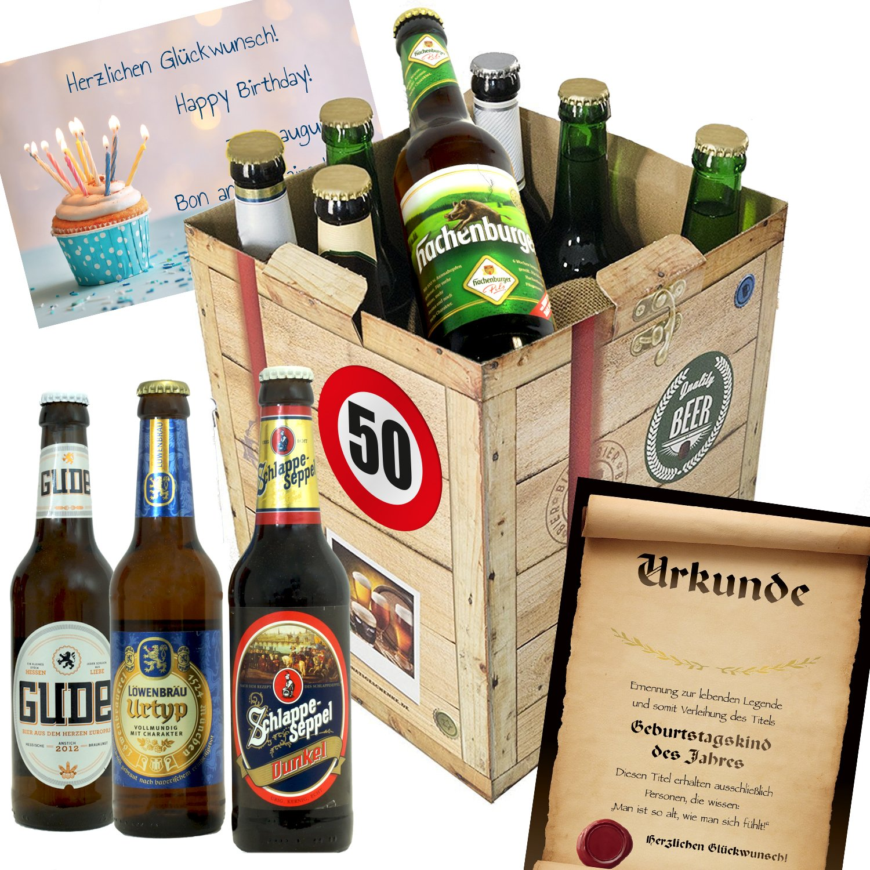 Geburtstagsgeschenke für Männer zum 50. - Bier Geschenk Box + gratis ...