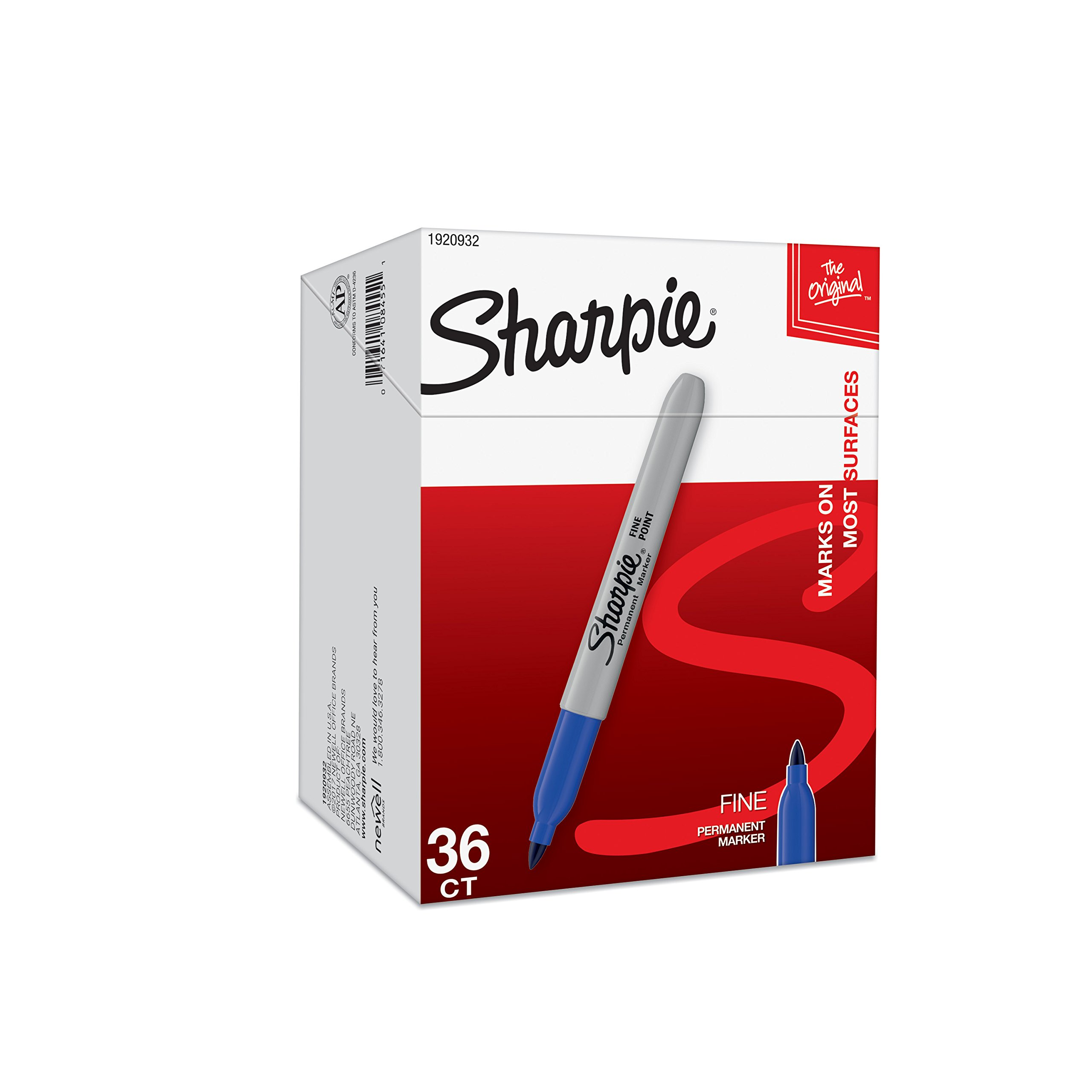 Sharpie Permanent Markers, Fine Point, Blue, 36-Pack (1920932) by Sharpie (Image #1)
