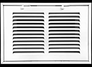 """10"""" X 6 Steel Return Air Filter Grille for 1"""" Filter - Removable Face/Door - HVAC Duct Cover - Flat Stamped Face - White [Outer Dimensions: 12.5 X 7.75]"""