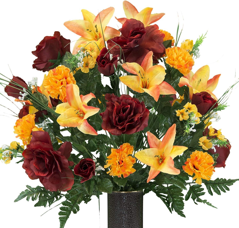 Amazon Com Sympathy Silks Artificial Cemetery Flowers Realistic