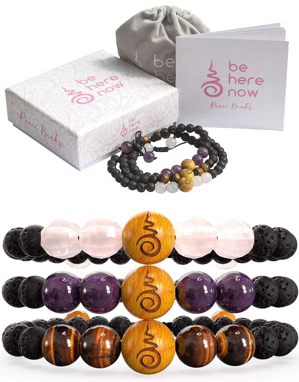 Essential Oil Bracelets Amethyst Sandalwood Set of 3 Anxiety Bracelet For Women Gift Box Gift Card Lava Rock Diffuser Bracelets For Women with Rose Quartz Tigers Eye Extra Satin Bag.