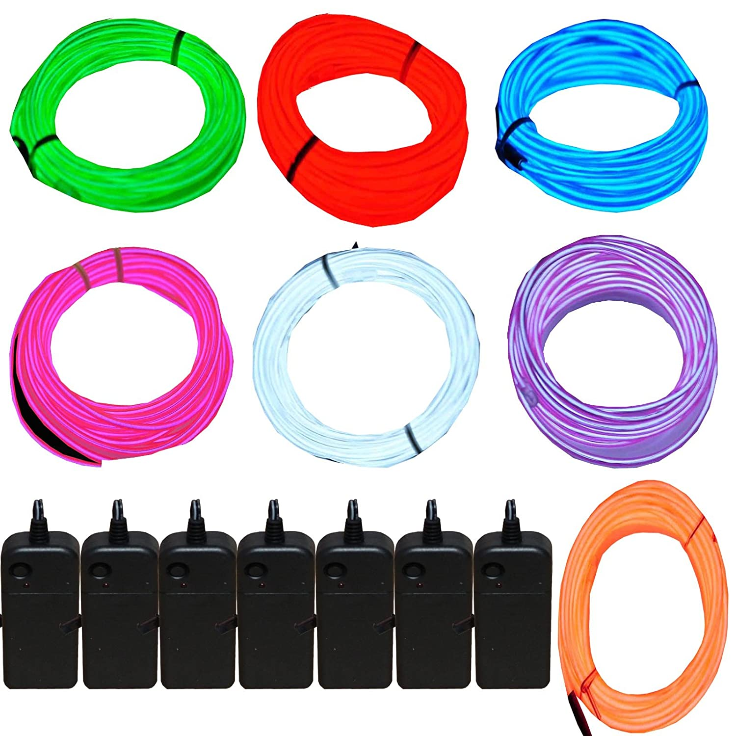 7 Pack - Jytrend 9ft Neon Light El Wire w/Battery Pack (Green, Blue, Red, Orange, Purple, White, Pink)