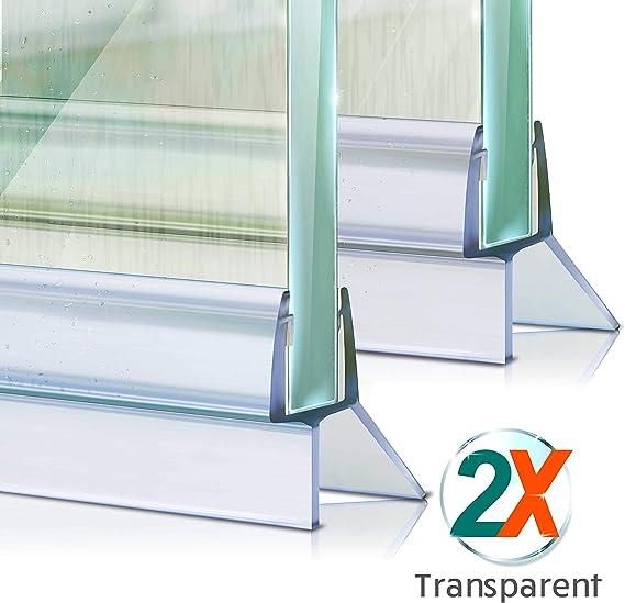 Junta de ducha Meisterfaktur, 2 unidades, deflector de agua prolongado, junta ideal para puertas de cristal de 6,7,8 mm en duchas: Amazon.es: Bricolaje y herramientas