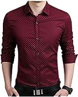LeNG Slim 5XL Mens Dress Shirts Autumn New Cotton Long Sleeve Business Men Shirt Slim Polka Dot Camisa Cool
