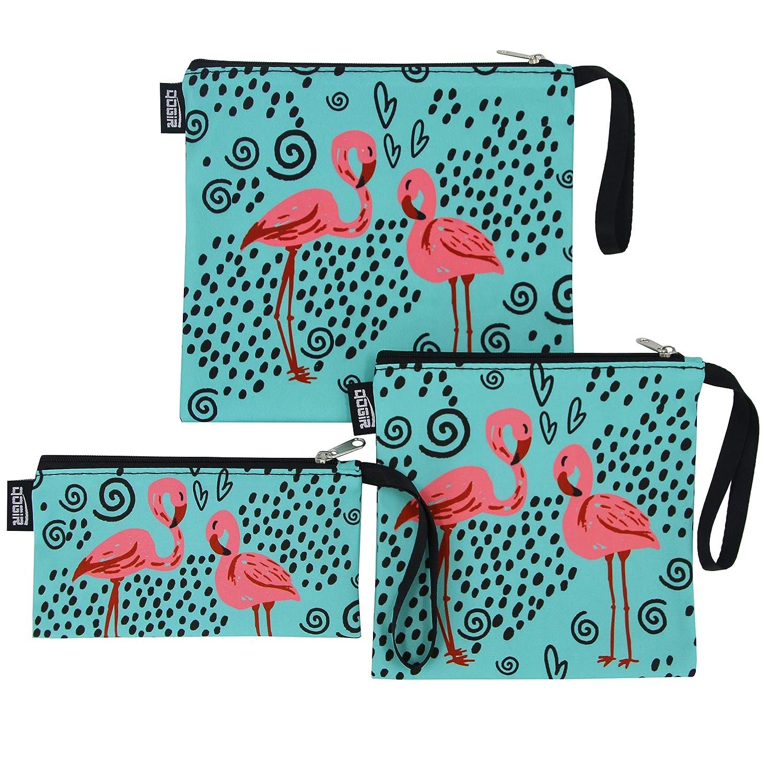 a258910da3e7 QOGiR Reusable Snack Bags and Sandwich Bags with Handle (Flamingo)