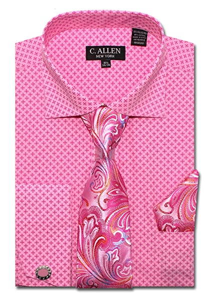Allen Mens Dress shirts Tie Hanky Cufflinks Combo French cuff Dot Print Brown C