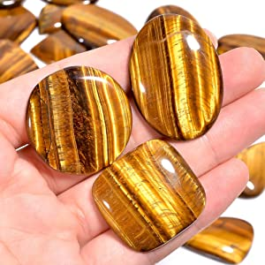 Gemkora Tiger Eye Gemstone Wholesale Cabochons Lot, Jewelry Making Loose Gemstone, Polished Home Decor Specimen, DIY, Wire Wrapping, Reiki, Healing Crystals, Bulk Gemstone Deal