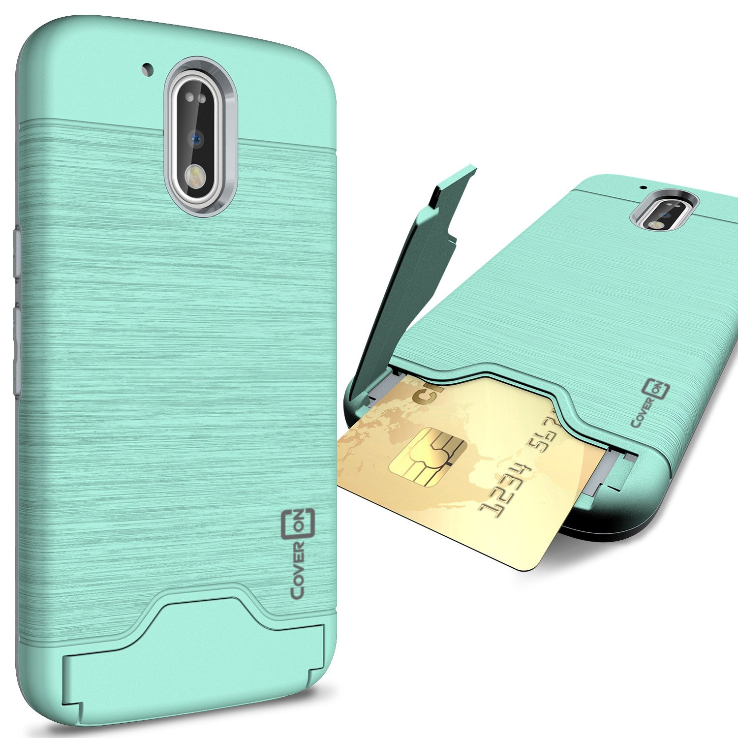 detailed look 9fa18 42029 Moto G4 Case, Moto G4 Plus Case, Moto G 4th Gen case, CoverON [SecureCard  Series] Protective Hard Hybrid Cover Credit Card Slot Stand Phone Case for  ...
