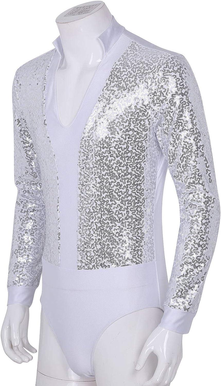 MSemis Maillot Baile Latino para Hombres Chicos Maillot Danza Manga Larga Camisas Cuello V Body Patinaje Baile Sal/ón Camiseta Brillante Ropa Bailar/ín Actuaci/ón
