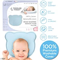 Baby Head Shaping Pillow - Memory Foam with Washable Cotton Cover - Sleep Positioner Cushion - Prevent Plagiocephaly Flat Head Syndrome - Boy Girl Infant Toddler Newborn - Shower Gift (0-12 Months)