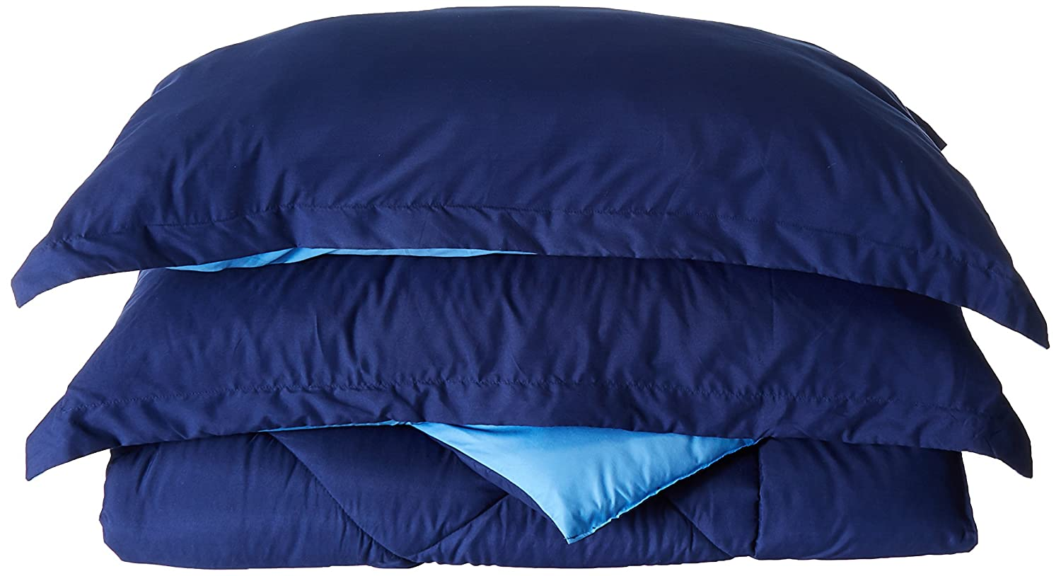 (King, Navy/Aqua) Elegant Comfort All Season Light Weight Down Alternative Reversible 3-Piece Comforter Set, King, Navy Blue/Light Blue B01DPZ8S9Q キング|ネイビー/アクア ネイビー/アクア キング