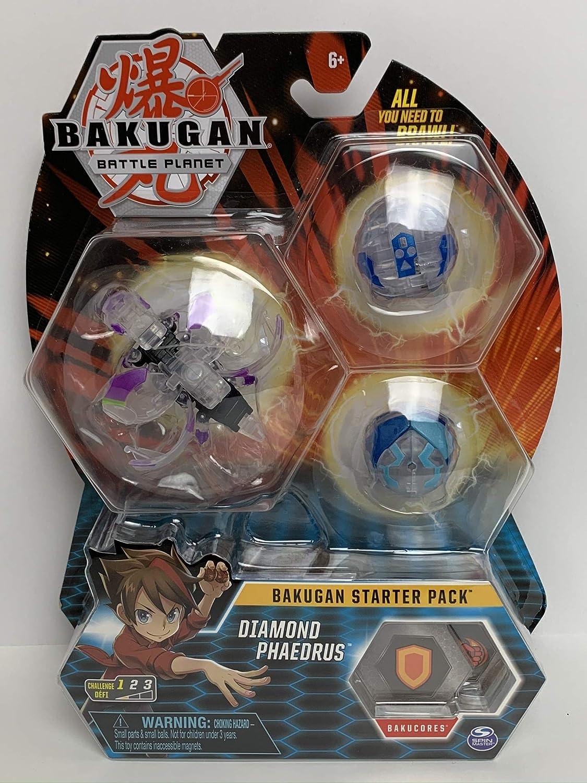 BAKUGAN Starter Pack 3-Pack Diamond Phaedrus Collectible Figura de ...