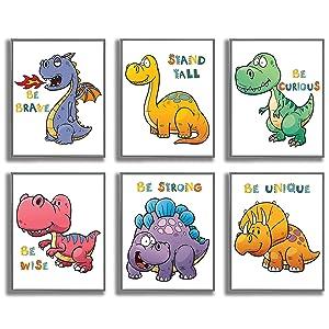 ETIUC Dinosaur Nursery Wall Art Prints for Boys & Girls Bedroom Set of 6 8x10in Unframed Motivational Quotes Baby Kids Room Playroom Safari Animals Wall Decor Jungle Zoo Room New Born Baby Prints