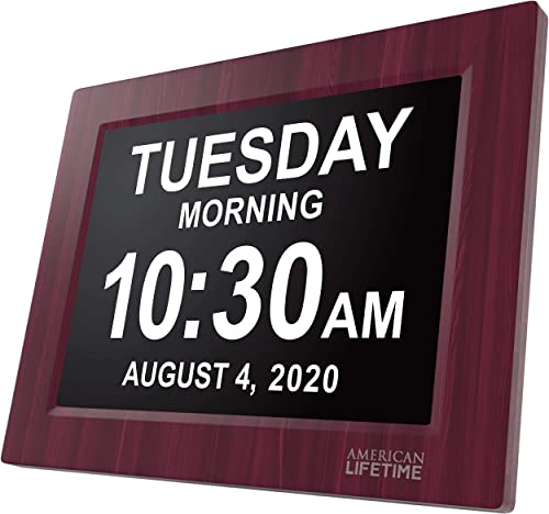 American Lifetime, Newest Version, Day Clock Extra Large Impaired Vision Digital Clock with Battery Backup and 5 Alarm Options, Premium Mahogany Color