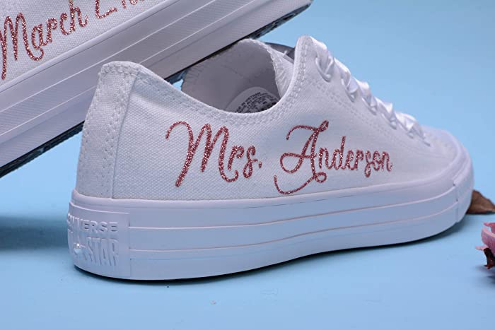95409464c Amazon.com  Rose Gold Glitter Personalized Wedding Sneakers For Bride