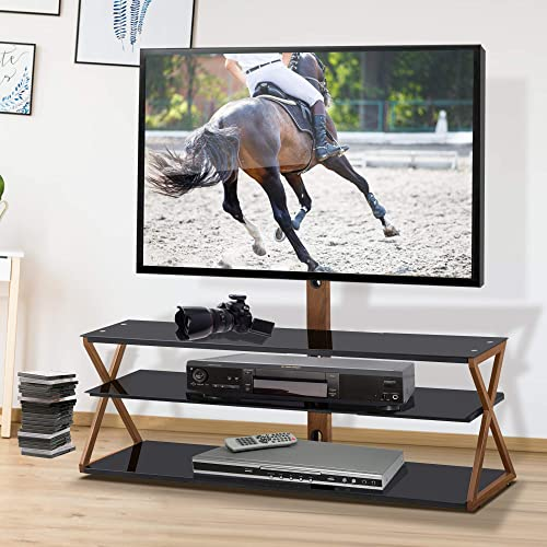 Henf 3-Tiers Media Component TV Stand with Swivel Mount,Tempered Glass TV Stand Media Storage Stand with Height Adjustable,Metal Tube,Heat Transfer Print for 32-65 inch TVs,Wood Big