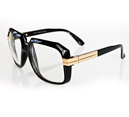 57dc54fa2ed New Mens Black Gold Retro Vintage Cazal 607 Style Clear Lens Glasses Eyewear  - Hip-