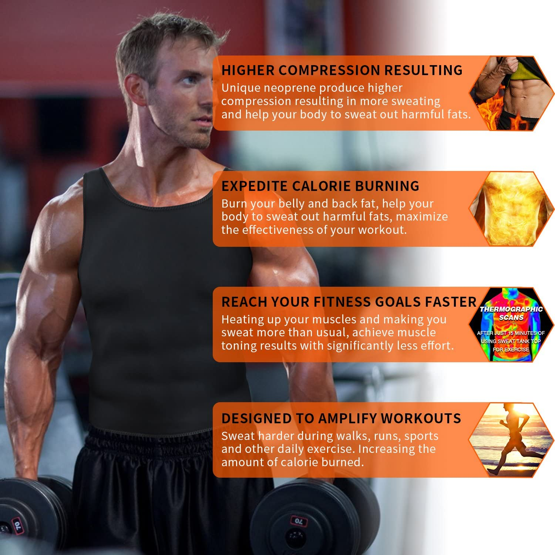 Men Waist Trainer Corset Vest for Weight Loss Hot Neoprene Slimming Body Shaper Sweat Tank Top Sauna Suit Workout Sport Shirt