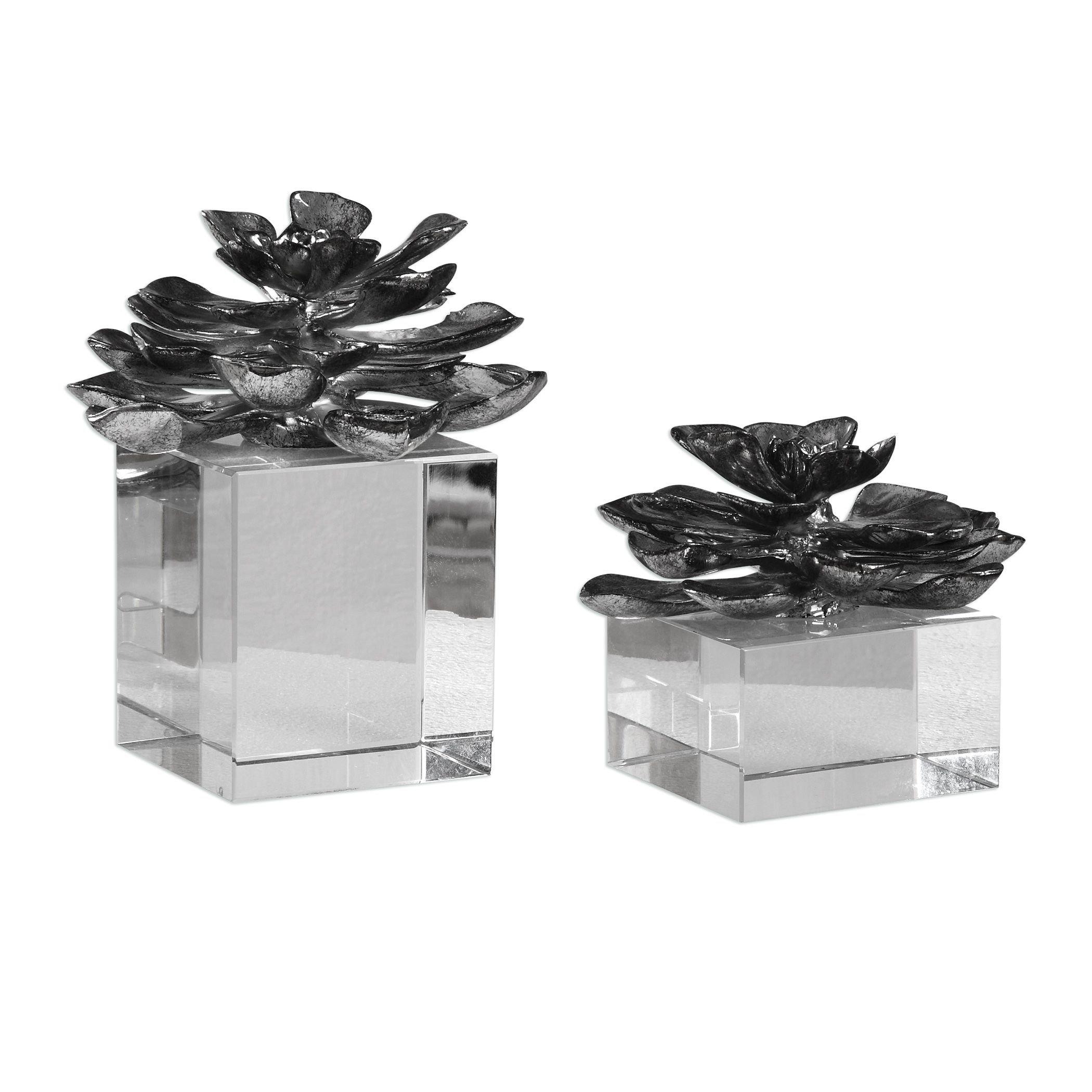 2-Pc Flower Set in Metallic Silver