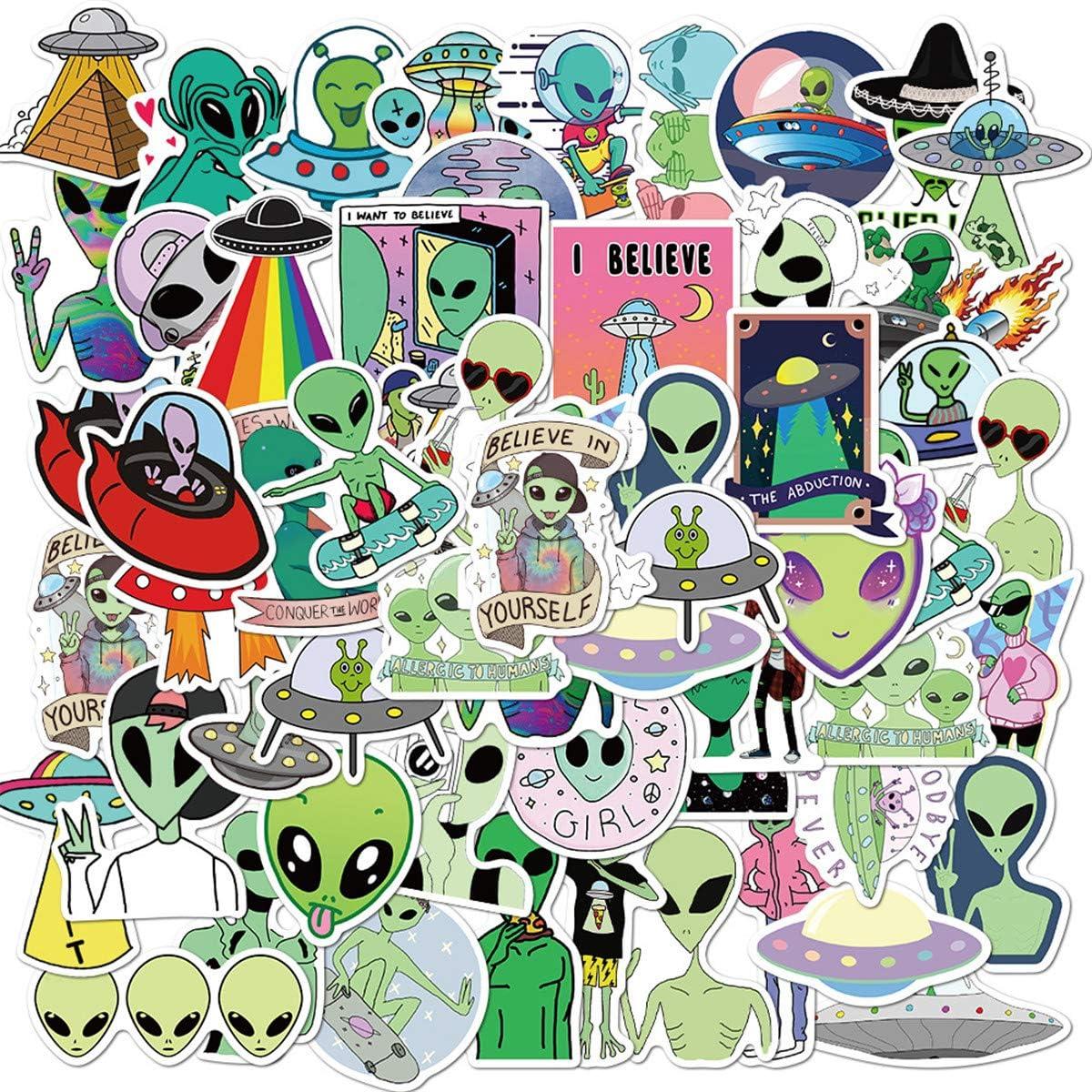 Cool Mysterious Alien Stickers, Waterproof Laptop Stickers, Vinyl Stickers, Water Bottle Bike Bumper Luggage Skateboard Graffiti, Best Gift for Kids,Children,Teen (Alien Creature)