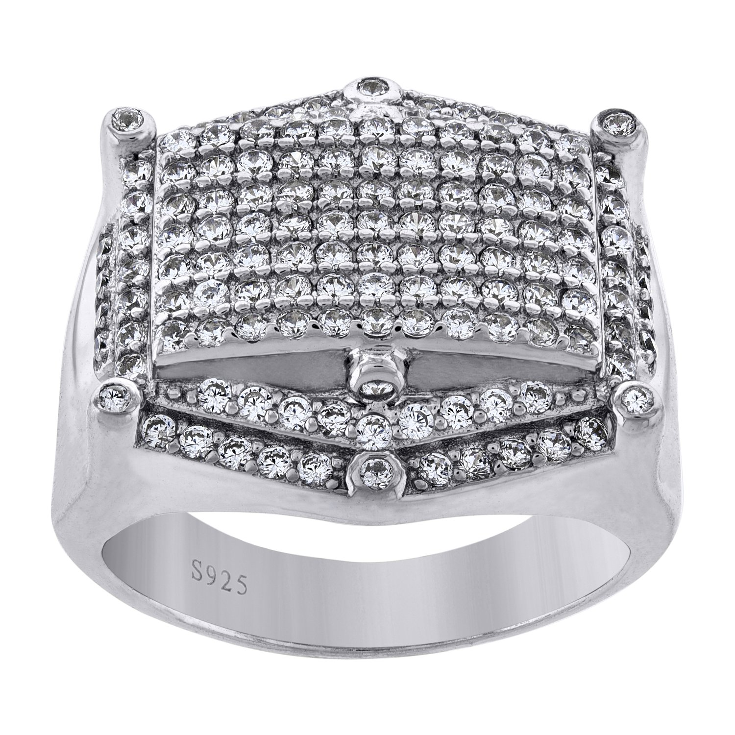 FB Jewels 925 Sterling Silver Mens Cubic Zirconia CZ Cluster Hexagon Head Wedding Ring Band
