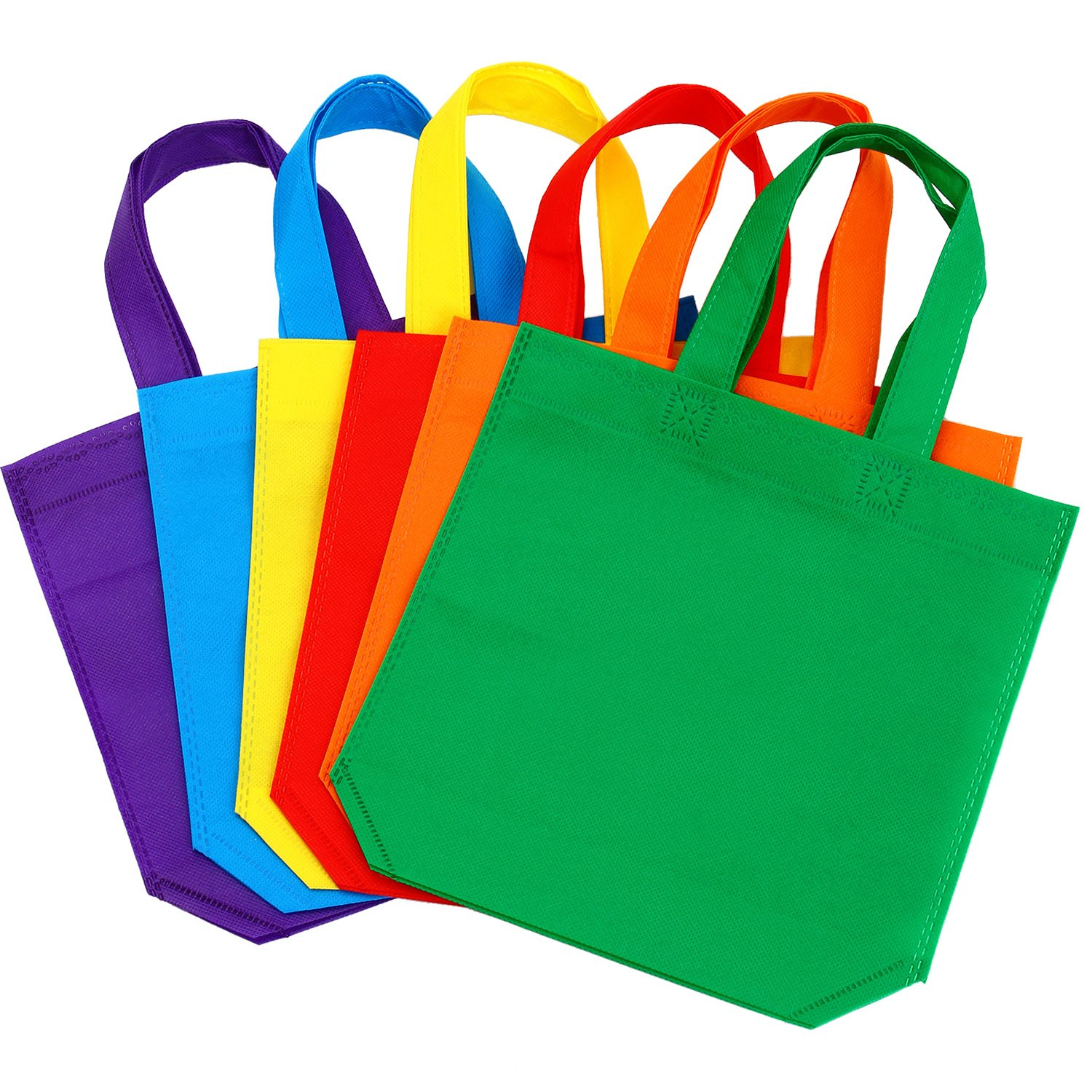 6 Colors Aneco 24 Pack 10 by 10 Inches Non-woven Tote Bags Party Goodie Treat Bag Bottom Gift Bag with Handles for Kids Birthday Party Favor