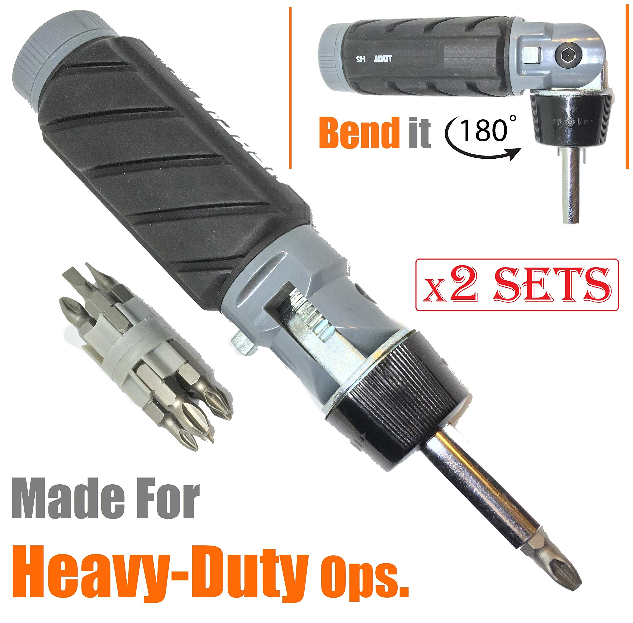 (Pack of 2) 10 in 1 Impact Multibit ADJUSTABLE ANGLE RATCHETING SCREWDRIVER SET Big Size PROFESSIONAL GRADE High Torque Compact Design Reversible Ratchet NONSLIP Rubber Handle Oily Hand Work