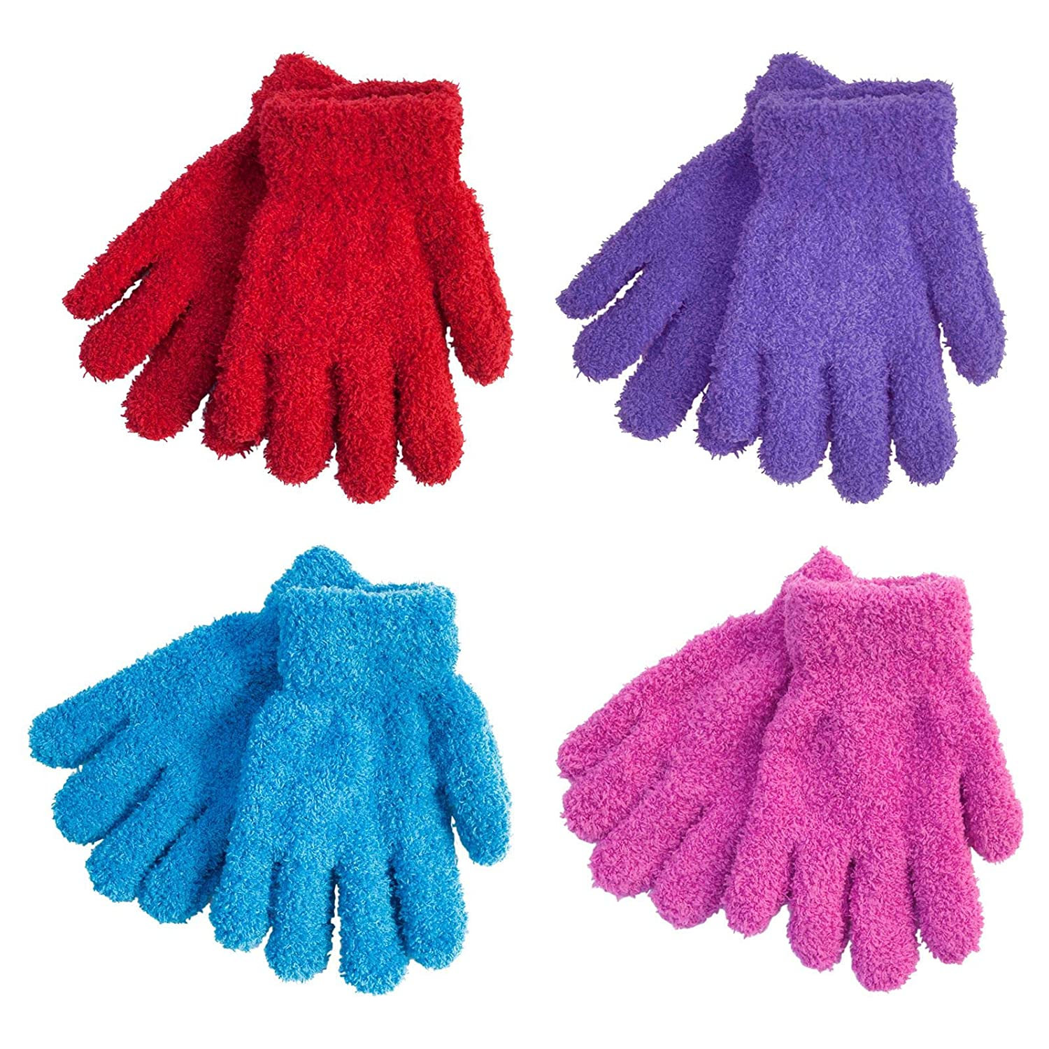 4 Pairs Childrens Magic Gloves Stretch Snow Soft Thermal Kids Winter One Size RJM