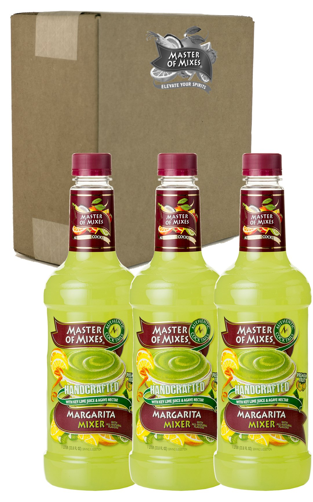 Master of Mixes Margarita Drink Mix, Ready To Use, 1 Liter Bottle (33.8 Fl Oz), Pack of 3