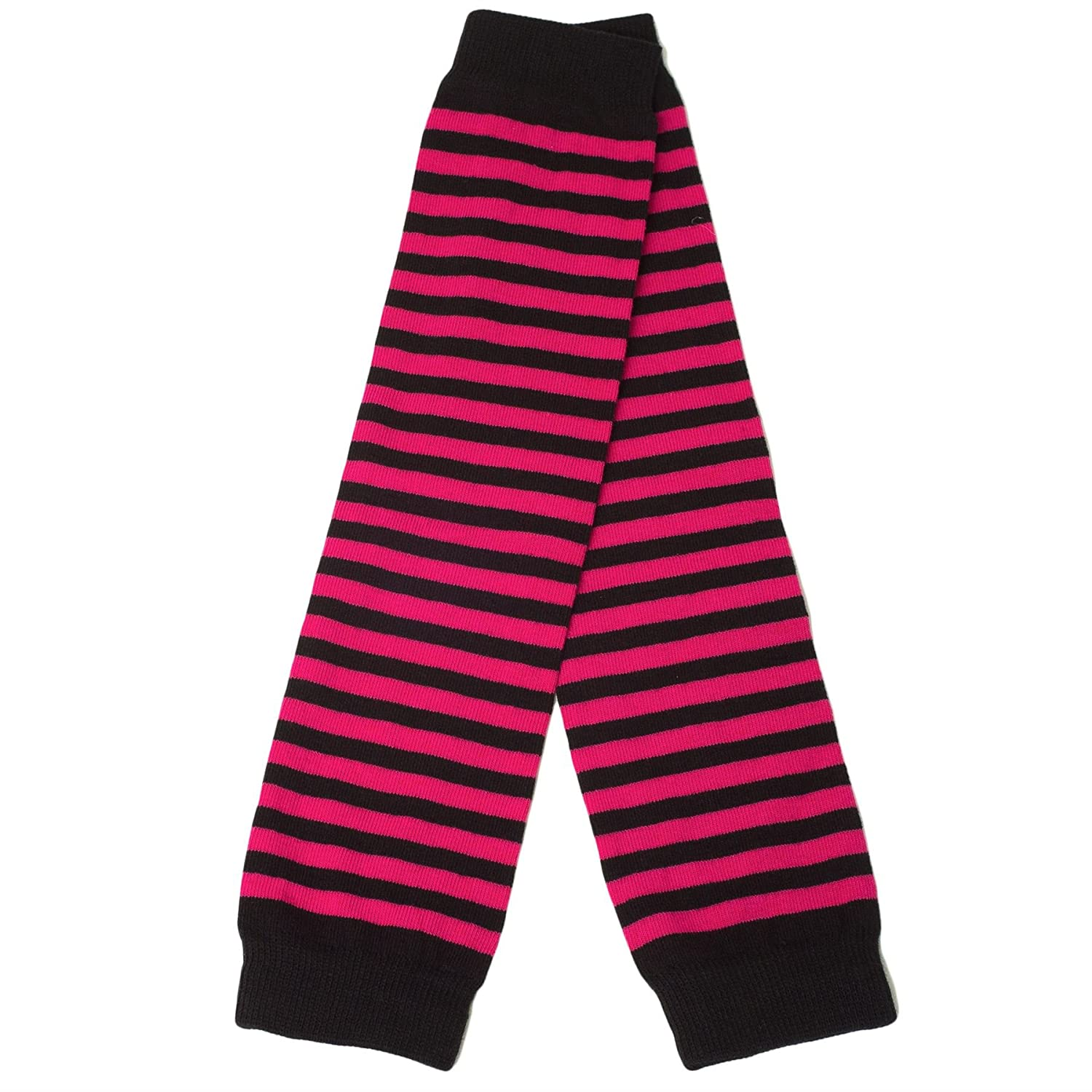 Ladies Arm Warmers/Gloves Thin Stripes - Long & Fingerless - Fuchsia Pink - Black d2d Socks 7930