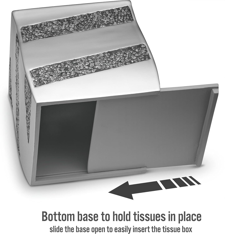 Bling Sparkle Kleenex Box Covers Silver Bathroom Accessories SMQ-44369 Bottom Slider Decorative Bathroom Tissue Holder DWELLZA Tissue Box Cover Square Silver Mosaic Collection