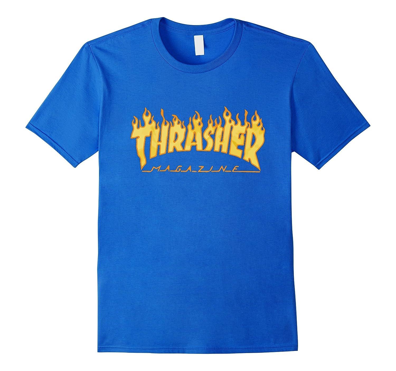 Th-rasher Flame Short Sleeve Skateboa-rd T-Shirt Black-BN