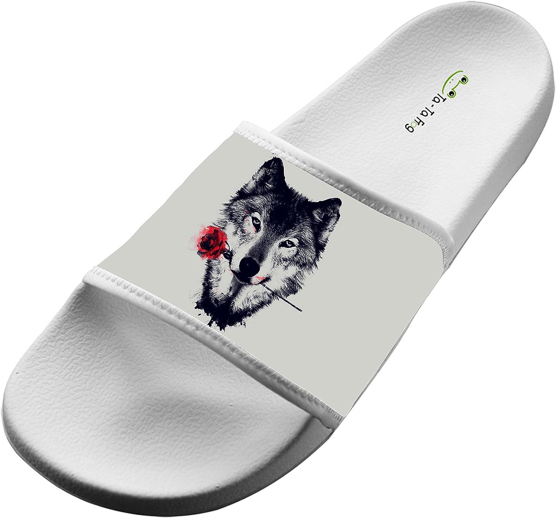 Jane-LEE Shoe Comfortable Slipper Rose Wolf decorations Designs For Men /& Women