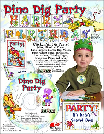 Amazon.com: scrapsmart – Dino Dig – Kit para fiesta, JPEG ...
