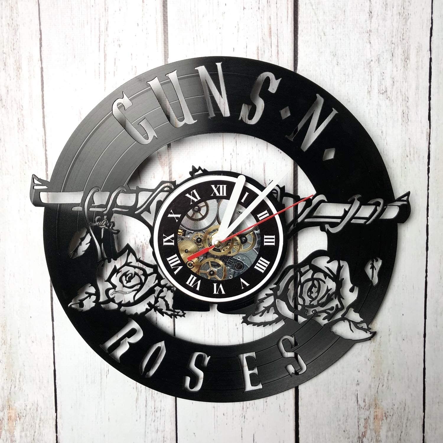 Iskra Shop Guns'n'Roses Vinyl Wall Clock - Get Unique Gifts Presents for Birthday, Christmas, Ideas for Boys, Girls, Men, Women, Adults, him and her - Sport Unique Art Design